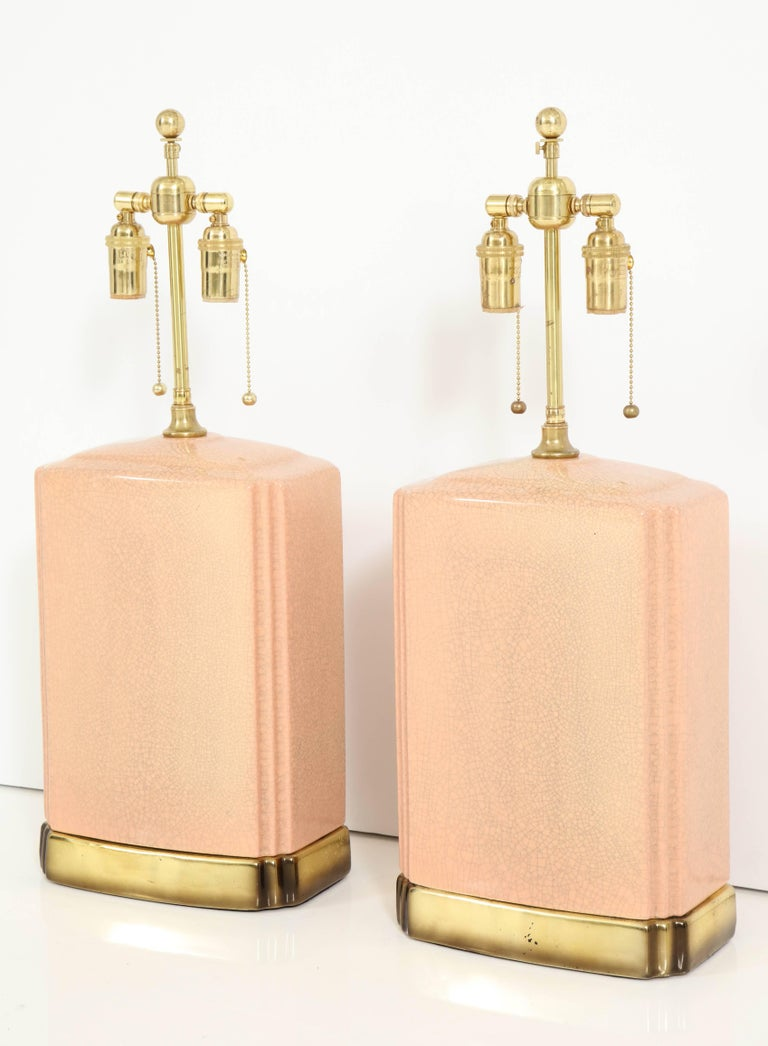 Pair of Crackle Glazed Ceramic Lamps For Sale 3