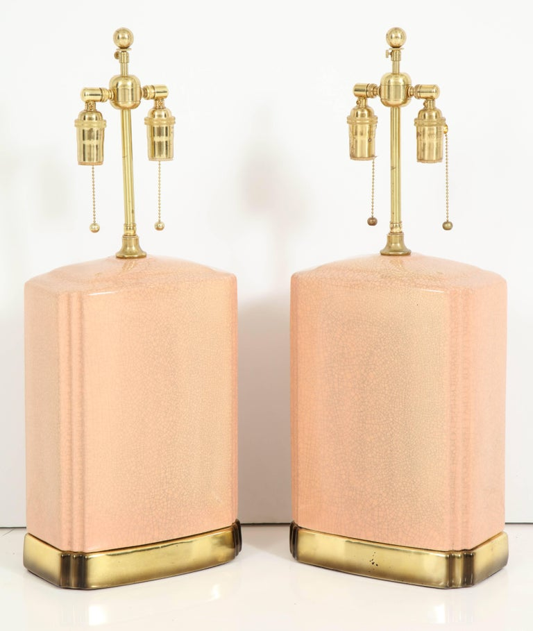 Pair of Crackle Glazed Ceramic Lamps For Sale 1