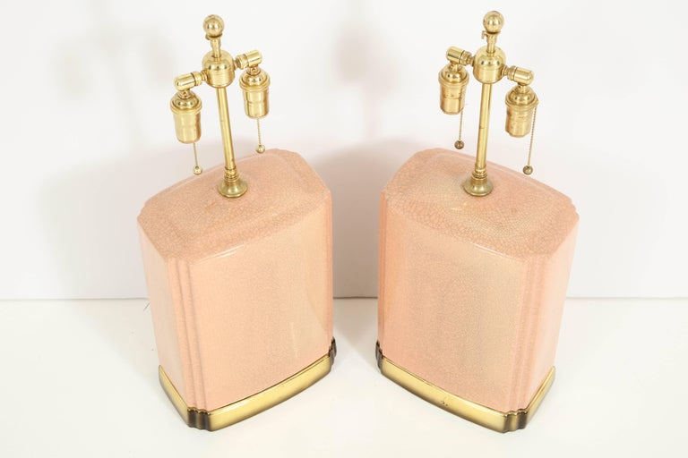 Late 20th Century Pair of Crackle Glazed Ceramic Lamps For Sale