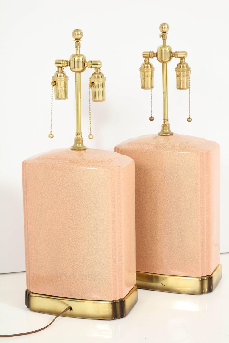 Pair of Crackle Glazed Ceramic Lamps For Sale 5
