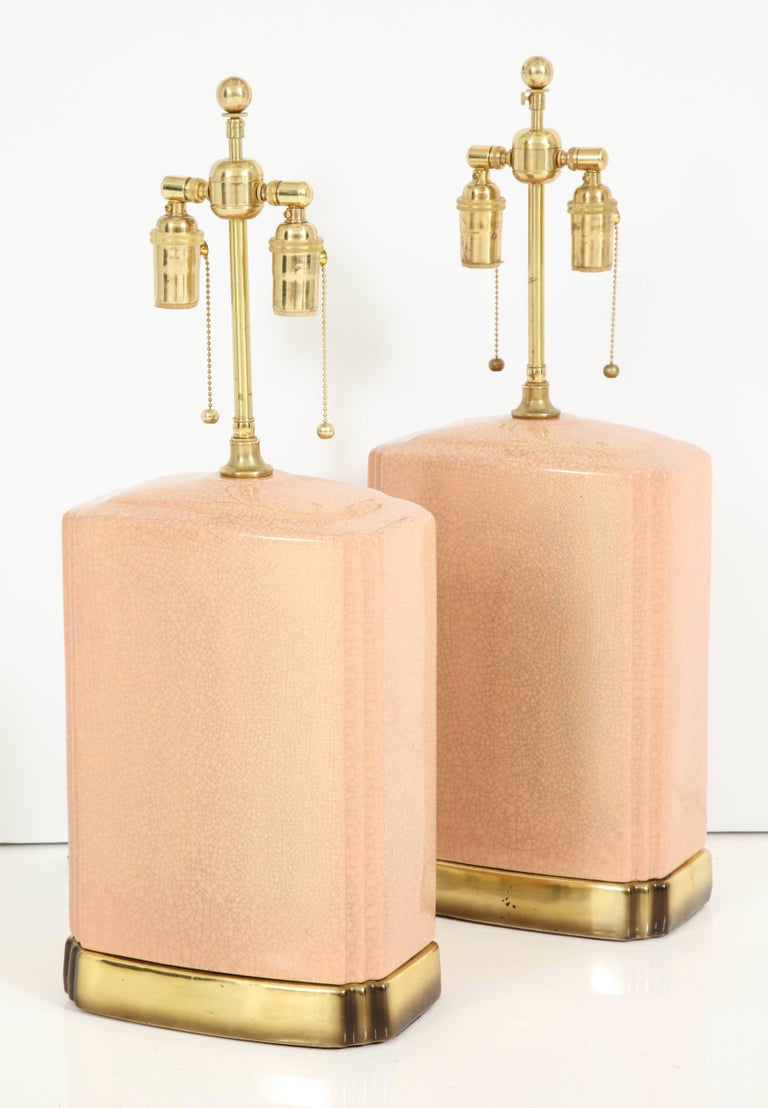 Pair of Crackle Glazed Ceramic Lamps For Sale 6