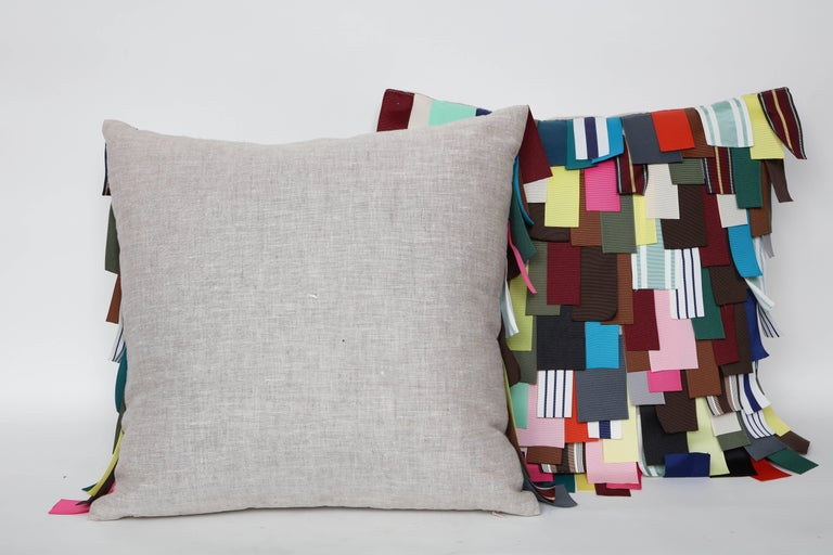 American Dransfield & Ross Grosgrain Ribbon Embellished Pillows For Sale
