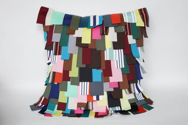Modern Dransfield & Ross Grosgrain Ribbon Embellished Pillows For Sale