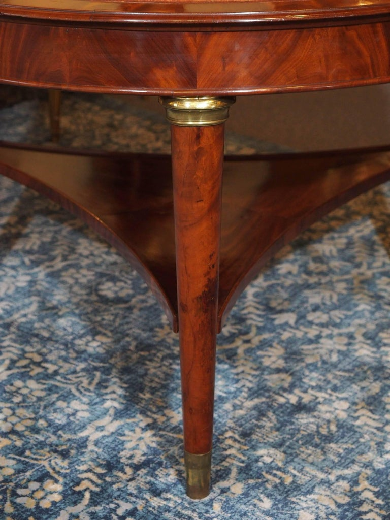 Mid-19th Century Antique French Louis Philippe Mahogany Leather Top Drum Table, circa 1840 For Sale