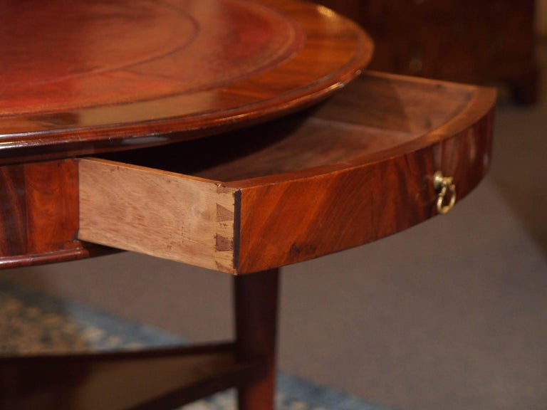 Antique French Louis Philippe Mahogany Leather Top Drum Table, circa 1840 For Sale 1