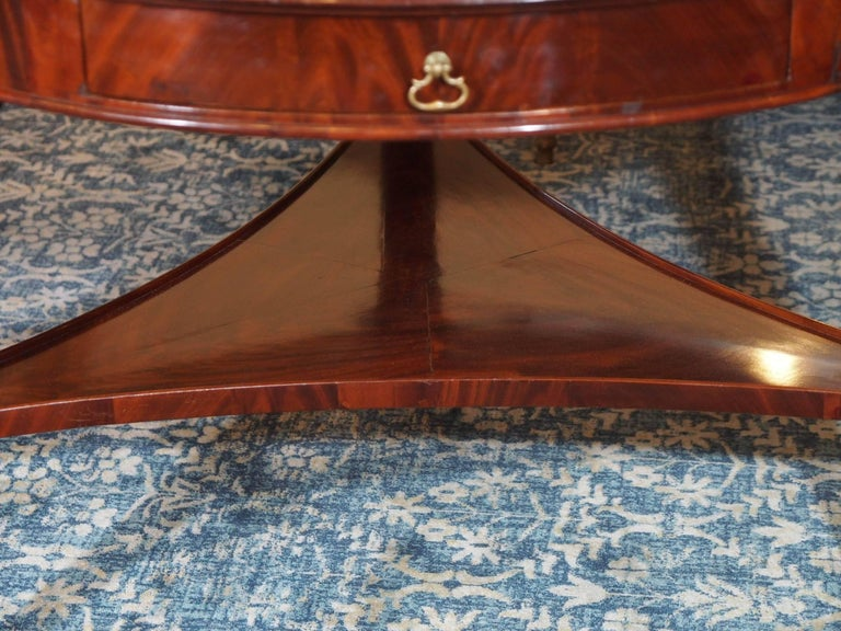 Antique French Louis Philippe Mahogany Leather Top Drum Table, circa 1840 For Sale 2