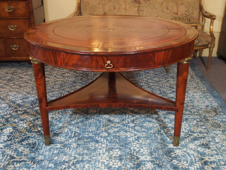 Antique French Louis Philippe Mahogany Leather Top Drum Table, circa 1840 For Sale 3
