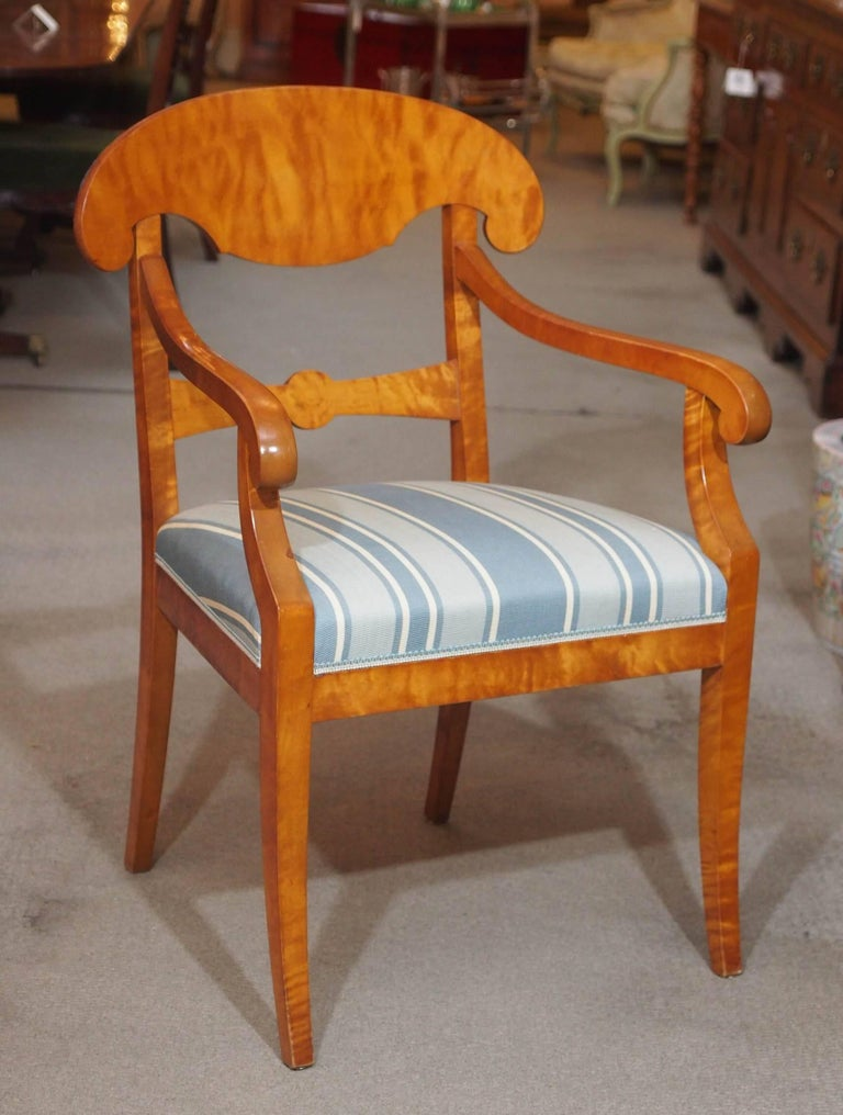 Pair of antique Swedish Biedermeier satin birch armchairs.
