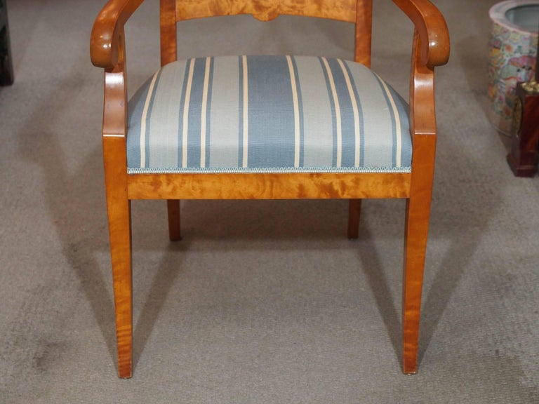 Pair of Antique Swedish Biedermeier Satin Birch Armchairs For Sale 1