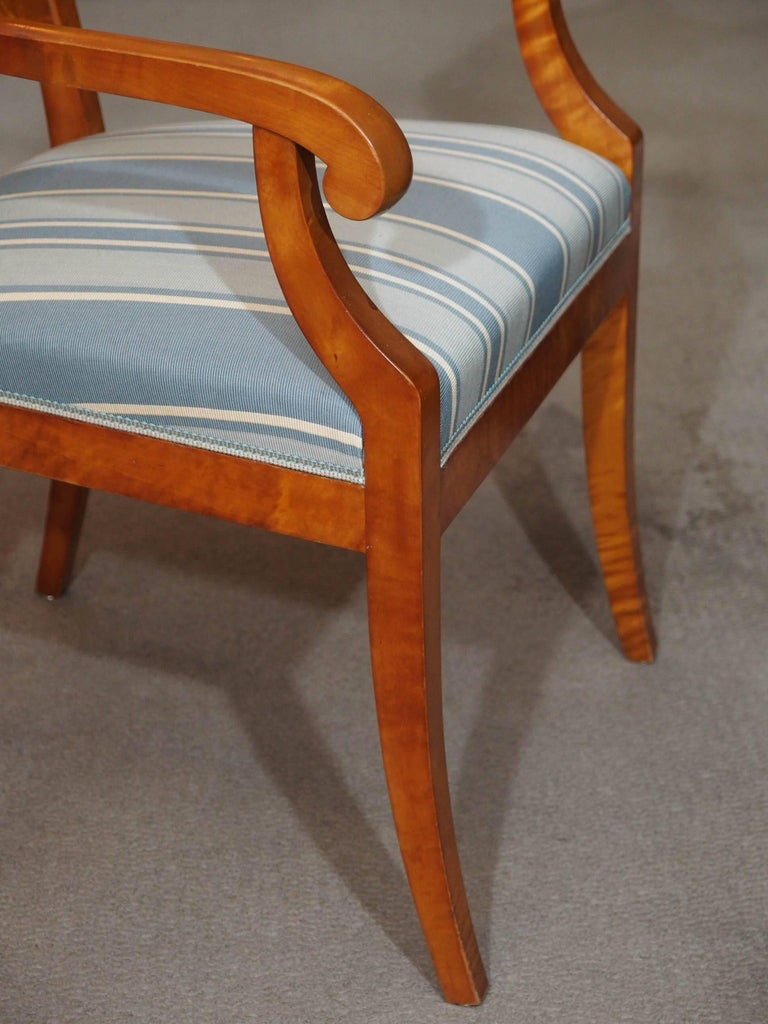 Pair of Antique Swedish Biedermeier Satin Birch Armchairs For Sale 2