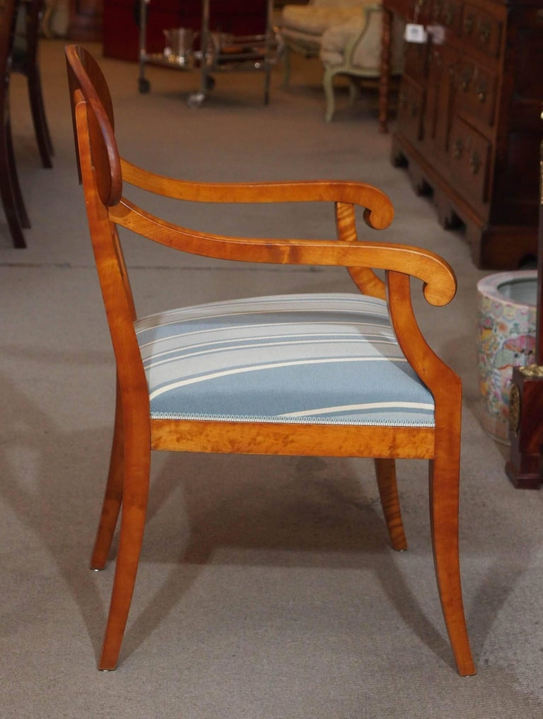 Pair of Antique Swedish Biedermeier Satin Birch Armchairs For Sale 3