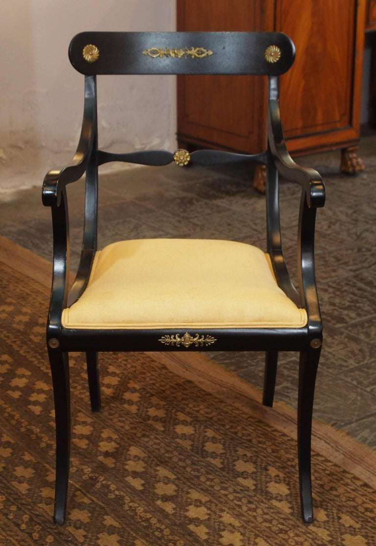 Great Britain (UK) Set of Eight Ebonized Dining Chairs, Regency Style, circa 1920 For Sale
