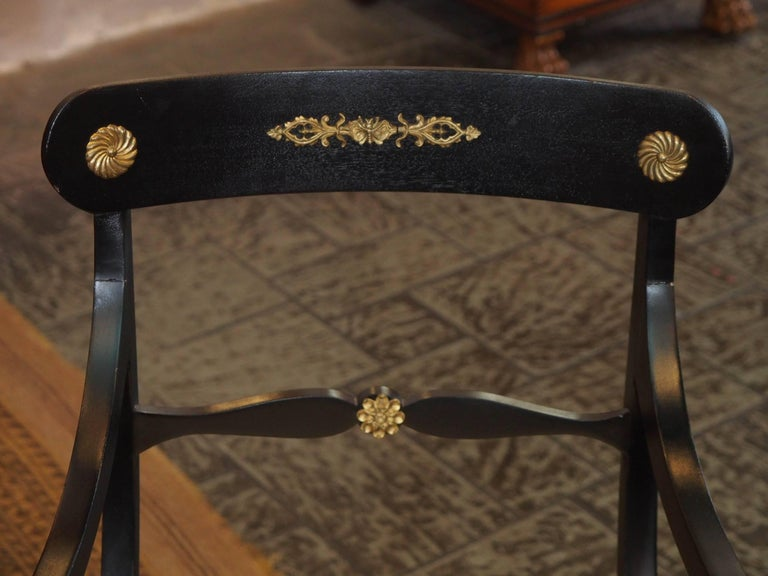 Set of Eight Ebonized Dining Chairs, Regency Style, circa 1920 In Good Condition For Sale In New Orleans, LA