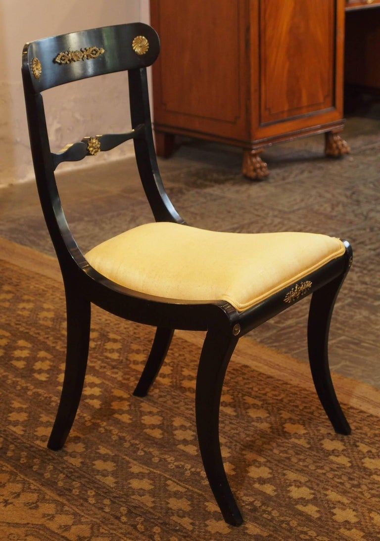 Set of Eight Ebonized Dining Chairs, Regency Style, circa 1920 For Sale 4