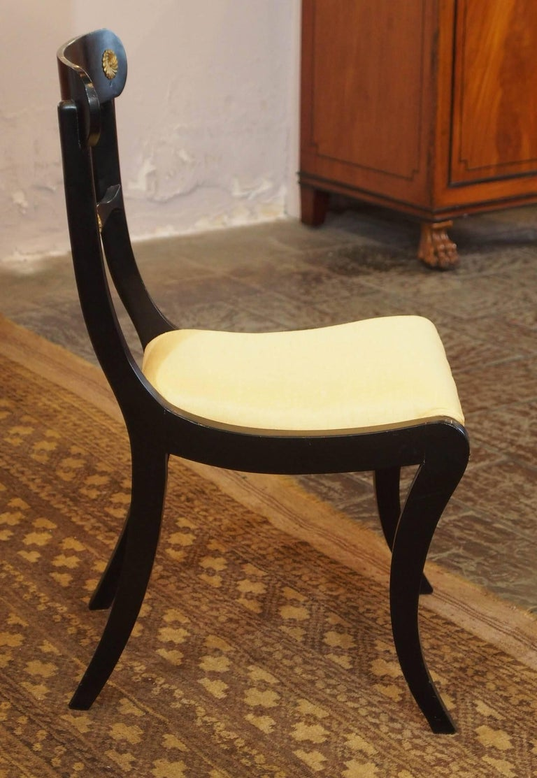 Set of Eight Ebonized Dining Chairs, Regency Style, circa 1920 For Sale 5