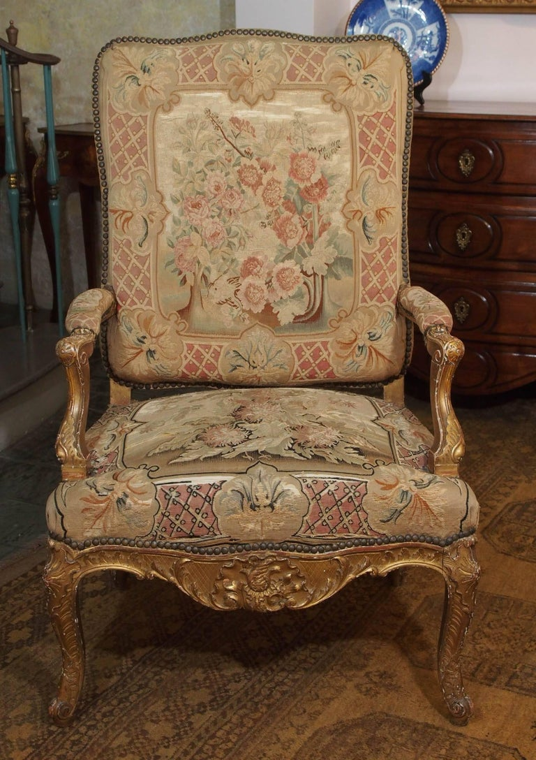 Set of Four Antique French Giltwood Armchairs with Aubusson Tapestry  For Sale 1