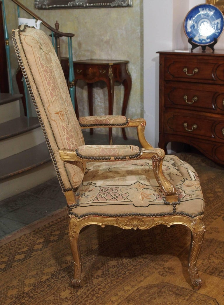Set of Four Antique French Giltwood Armchairs with Aubusson Tapestry  For Sale 5
