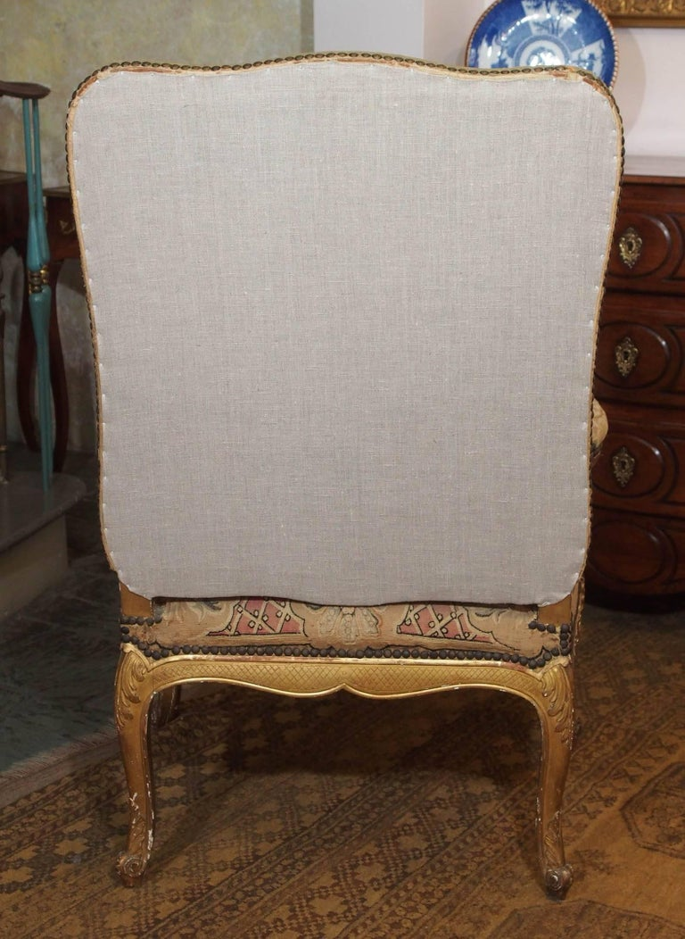 Set of Four Antique French Giltwood Armchairs with Aubusson Tapestry  For Sale 6