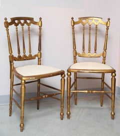 Pair of Chiavari Chairs, Palm Beach, Giltwood, Elegant, for Use or Accessory
