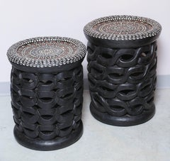 Pair of African Side Tables, Bamileke, Inlaid with Cowryshells and Old Coins