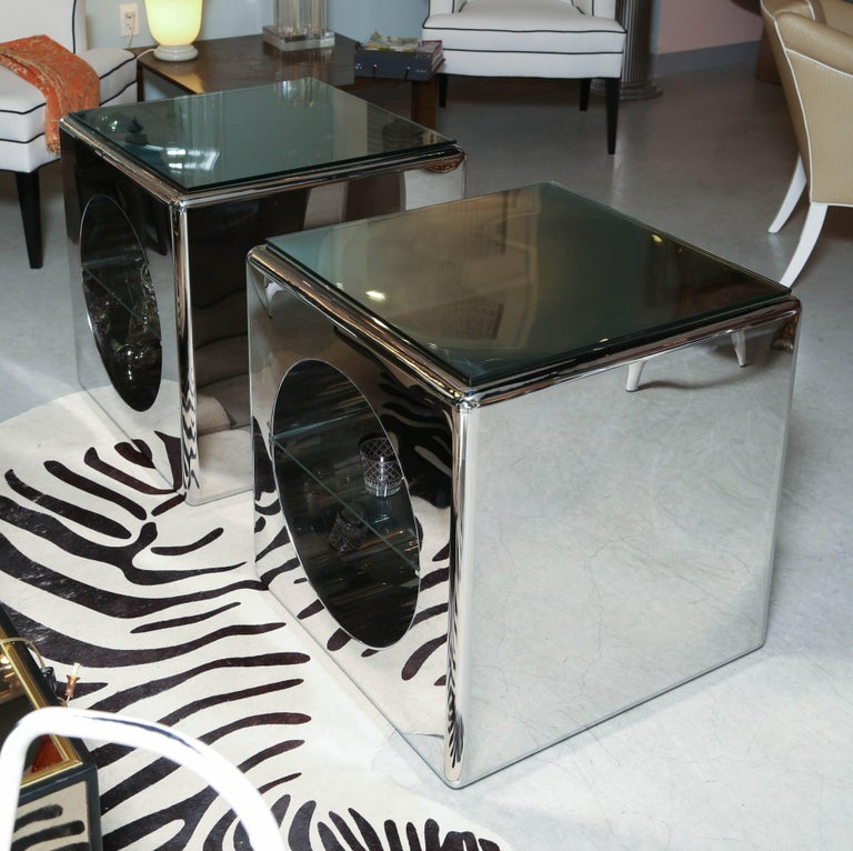 Mid-Century Modern Modernism, Mirror-Polished, Seamless Stainless Steel Side Tables  Karl Springer For Sale