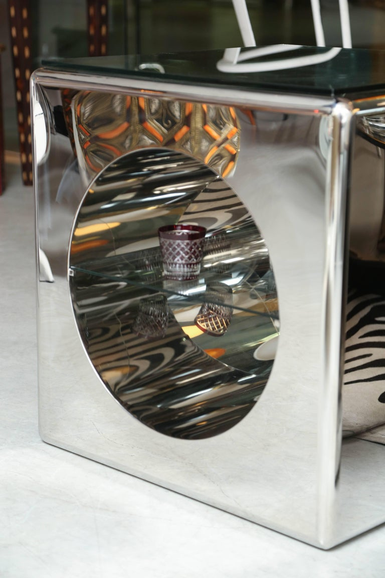 Hand-Crafted Modernism, Mirror-Polished, Seamless Stainless Steel Side Tables  Karl Springer For Sale
