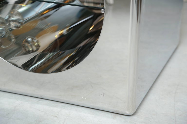 Modernism, Mirror-Polished, Seamless Stainless Steel Side Tables  Karl Springer For Sale 2