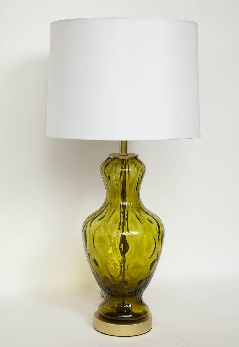 Brushed Blenko Moss Green Glass Lamps For Sale