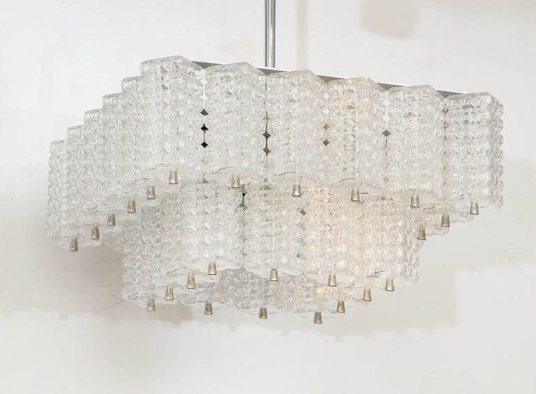 Scandinavian Modern Austrolux Two-Tier Glass Chandelier For Sale