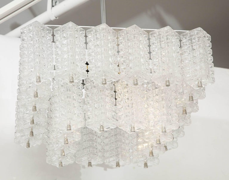 Brushed Austrolux Two-Tier Glass Chandelier For Sale