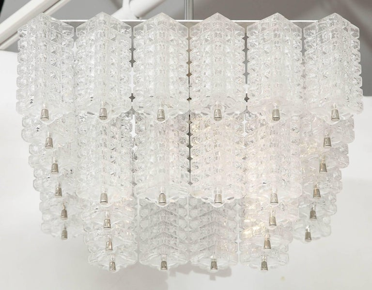 Austrolux Two-Tier Glass Chandelier In Excellent Condition For Sale In New York, NY