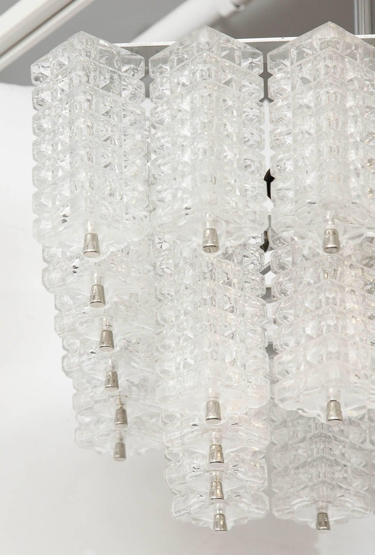 20th Century Austrolux Two-Tier Glass Chandelier For Sale