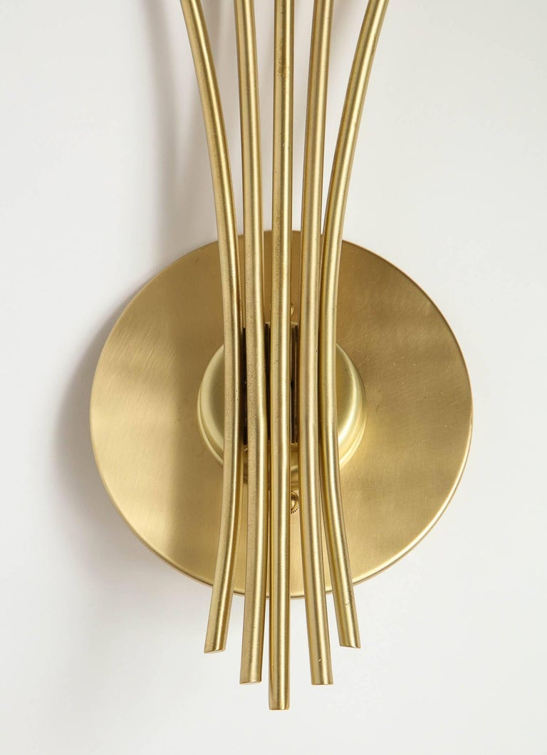 Satin Brass Wall Sconces : Oscar Torlasco Satin Brass Sconces For Sale at 1stdibs