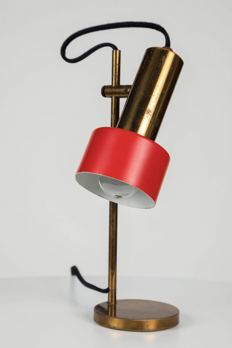 Mid-20th Century 1960s Stilux Milano Adjustable Brass Table Lamp For Sale