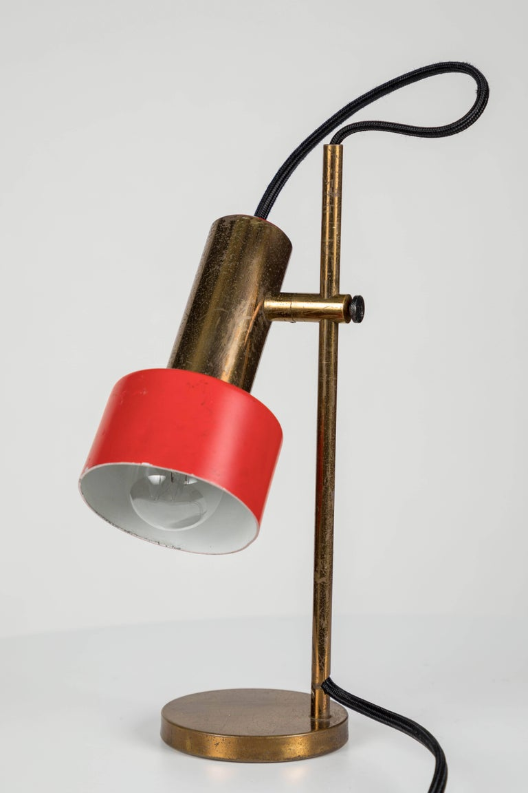 Painted 1960s Stilux Milano Adjustable Brass Table Lamp For Sale