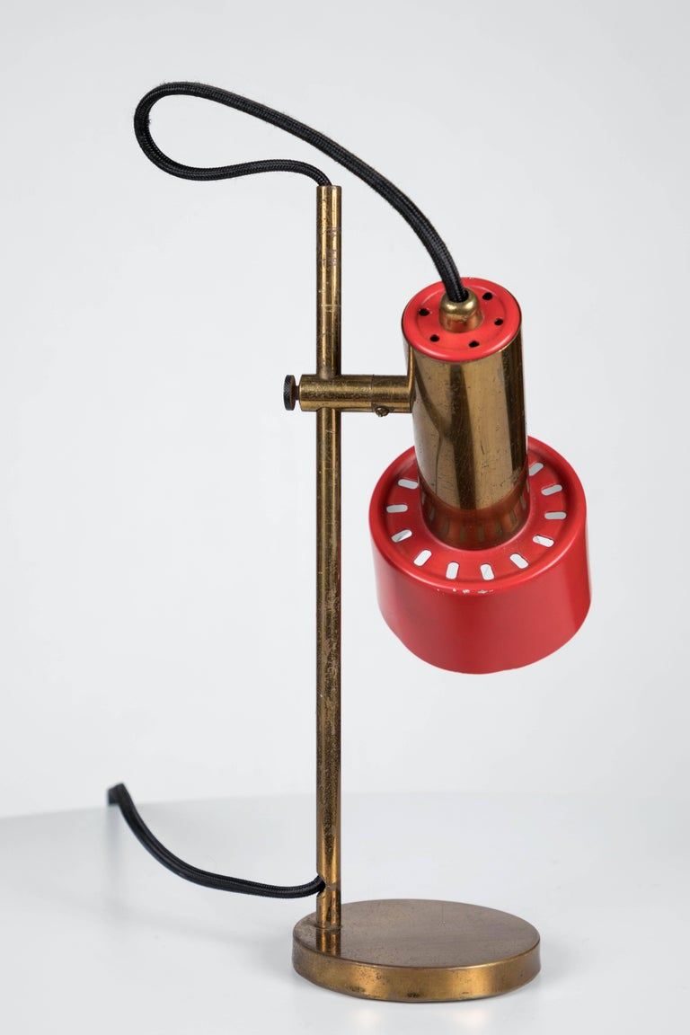 Italian 1960s Stilux Milano Adjustable Brass Table Lamp For Sale