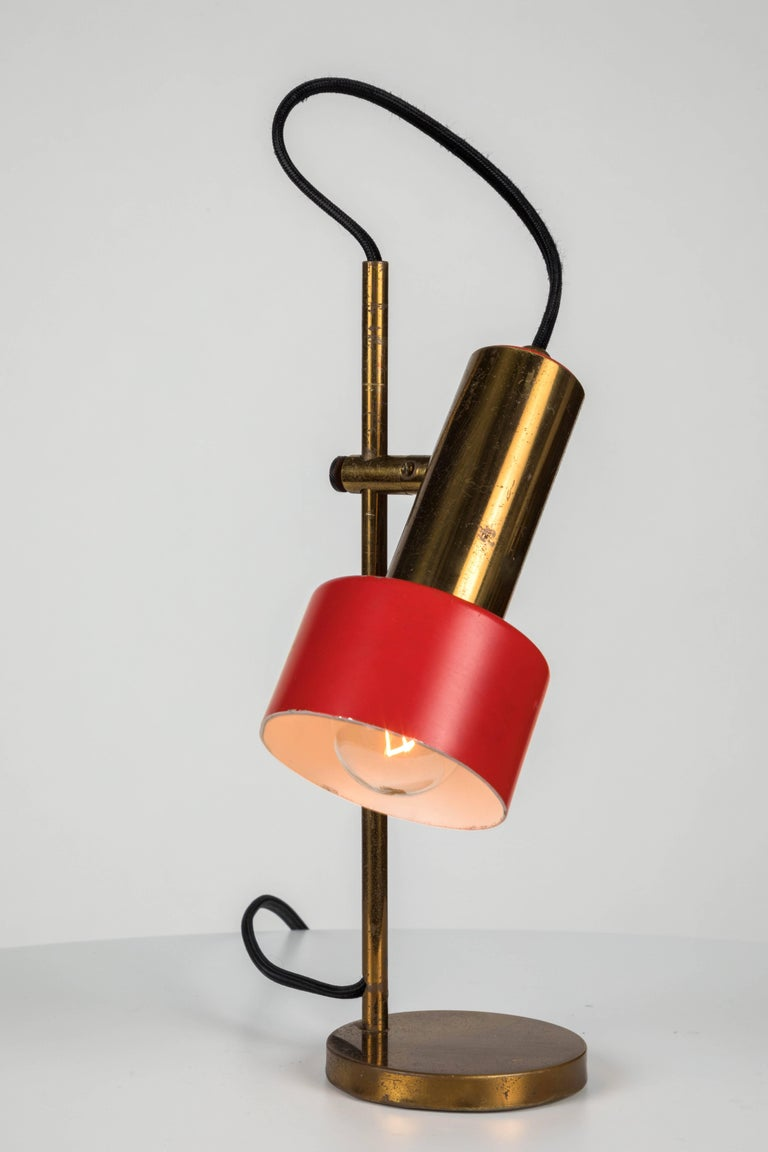 1960s Stilux Milano Adjustable Brass Table Lamp For Sale 1