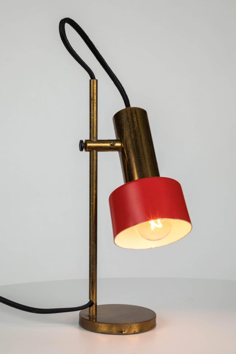 Mid-Century Modern 1960s Stilux Milano Adjustable Brass Table Lamp For Sale