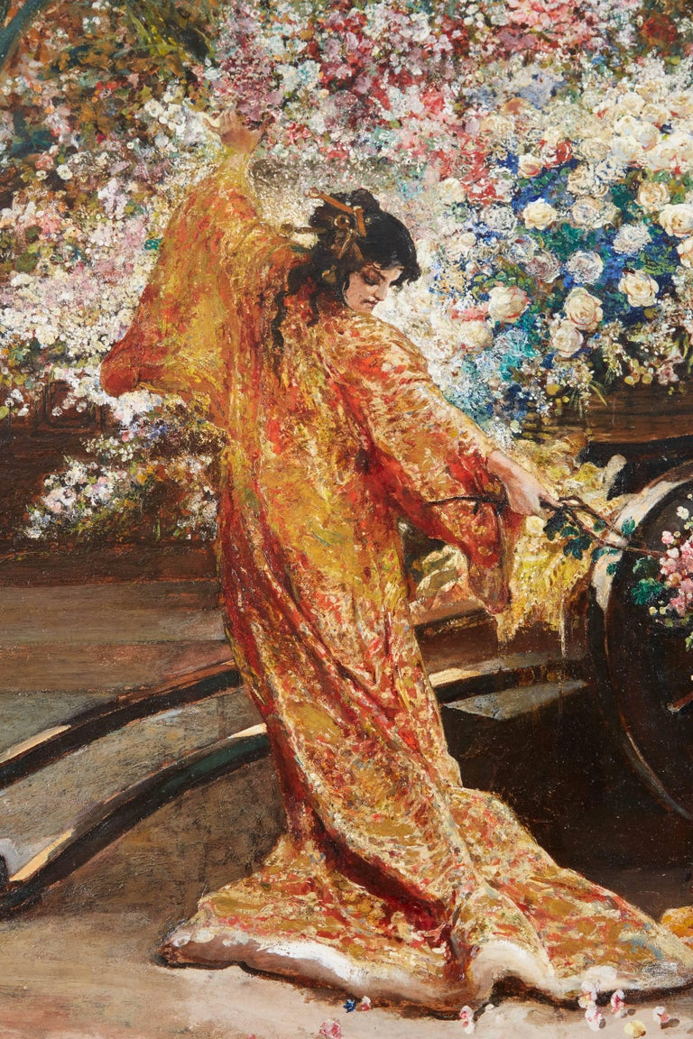 Exceptional French Japonisme Oil On Panel Painting By