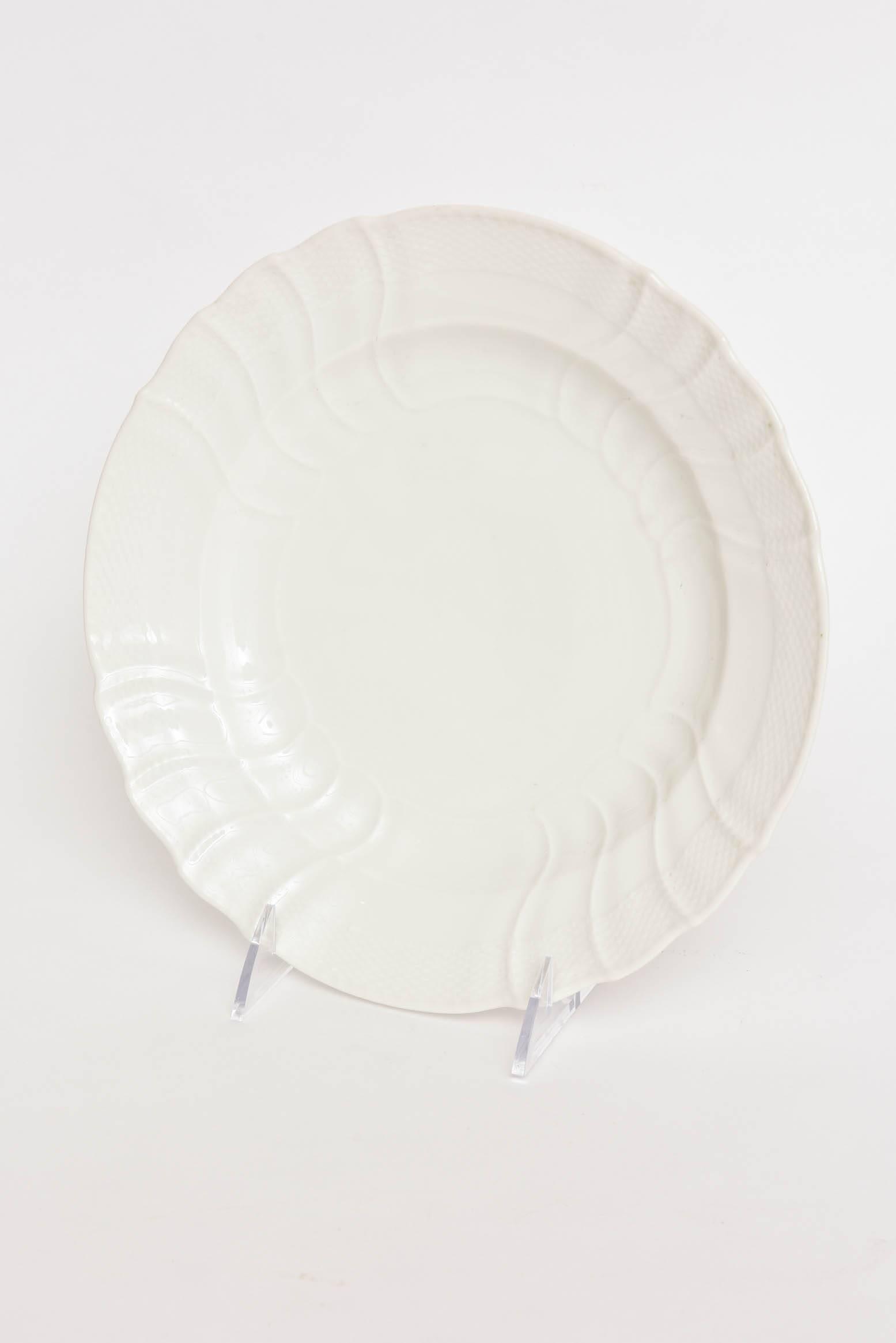 An elegant set of last quarter of the 19th century crisp all white dinner plates. & 12 Dinner Plates Antique Berlin All White Blanc De Chine Basket ...