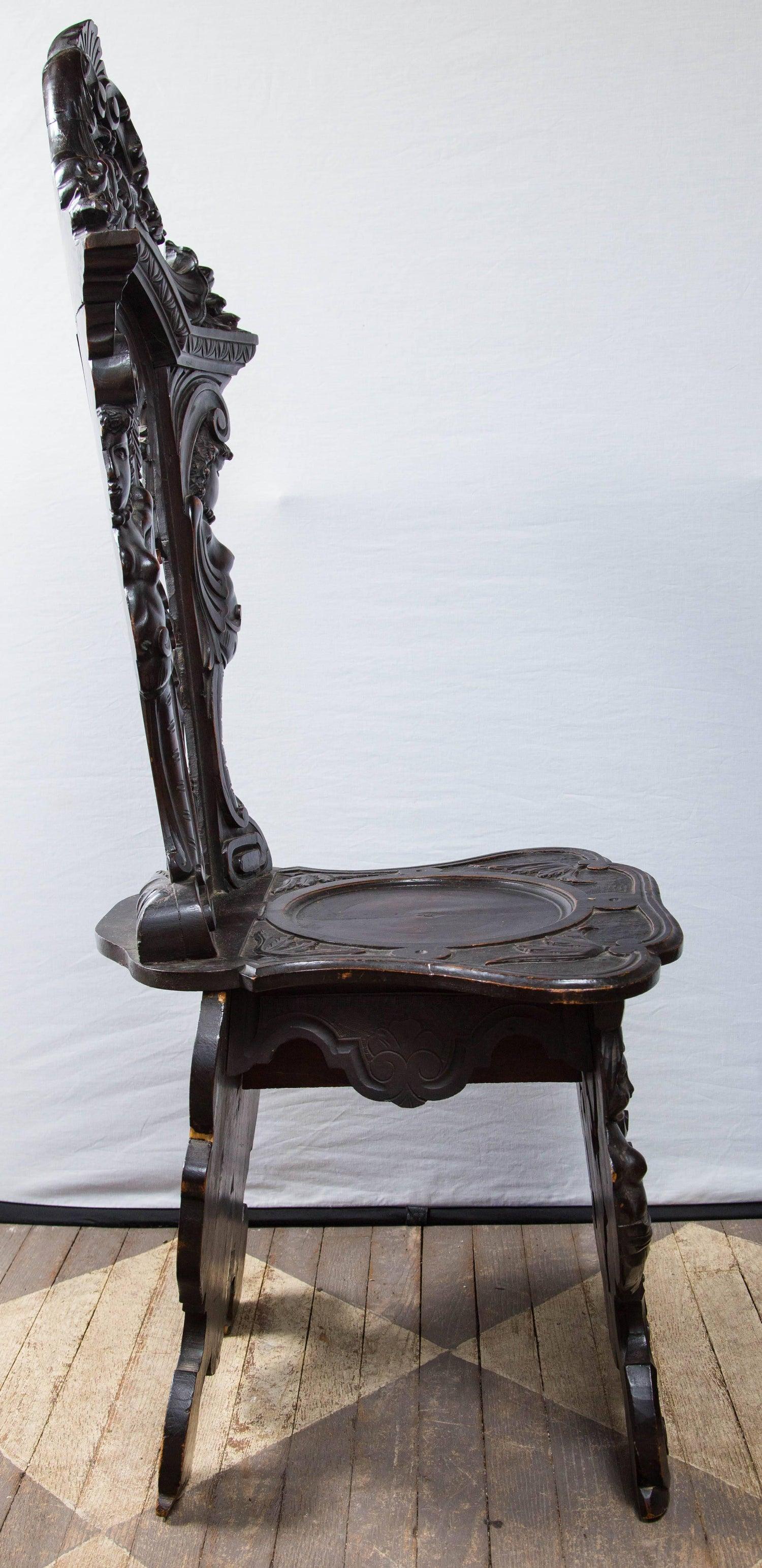 Sgabelli American Style.Rare Pair Of Renaissance Sgabelli Side Chairs