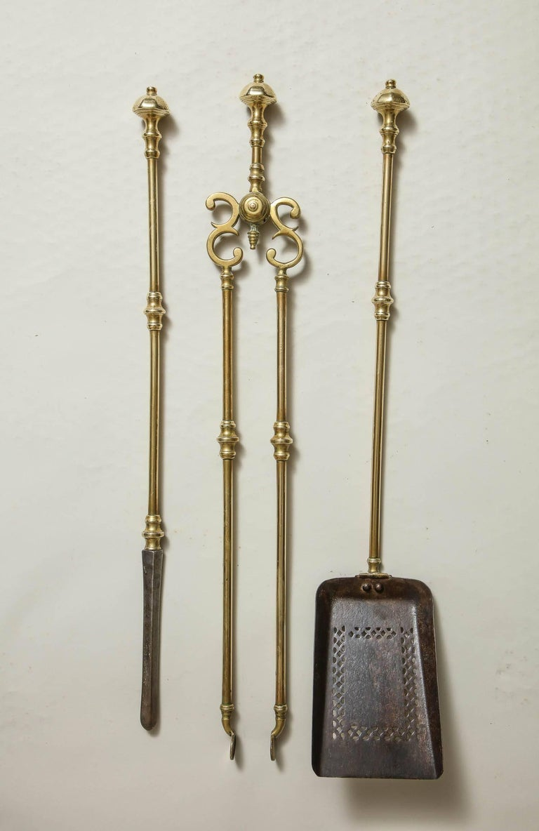 Set of brass and steel fire tools for sale at stdibs