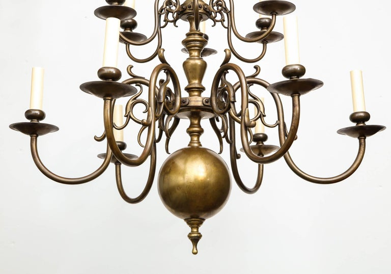 Baroque Brass Twelve-Light Chandelier For Sale