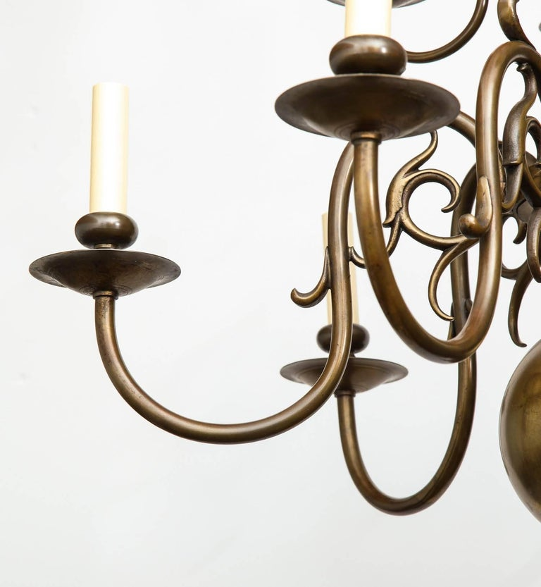 European Brass Twelve-Light Chandelier For Sale