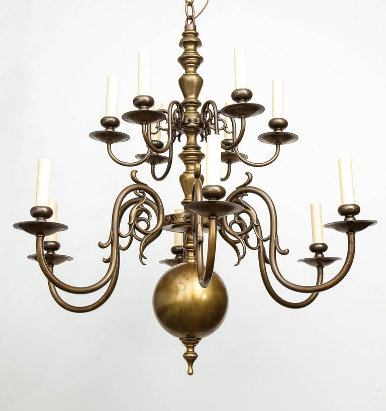 Brass Twelve-Light Chandelier In Excellent Condition For Sale In New York, NY