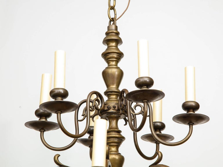Brass Twelve-Light Chandelier For Sale 1