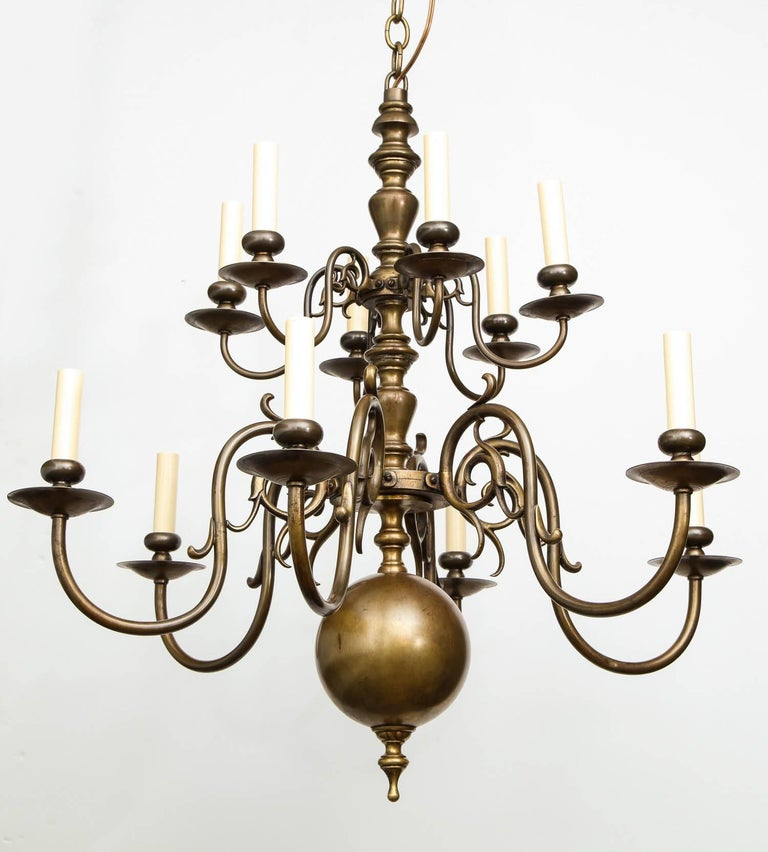 Brass Twelve-Light Chandelier For Sale 2