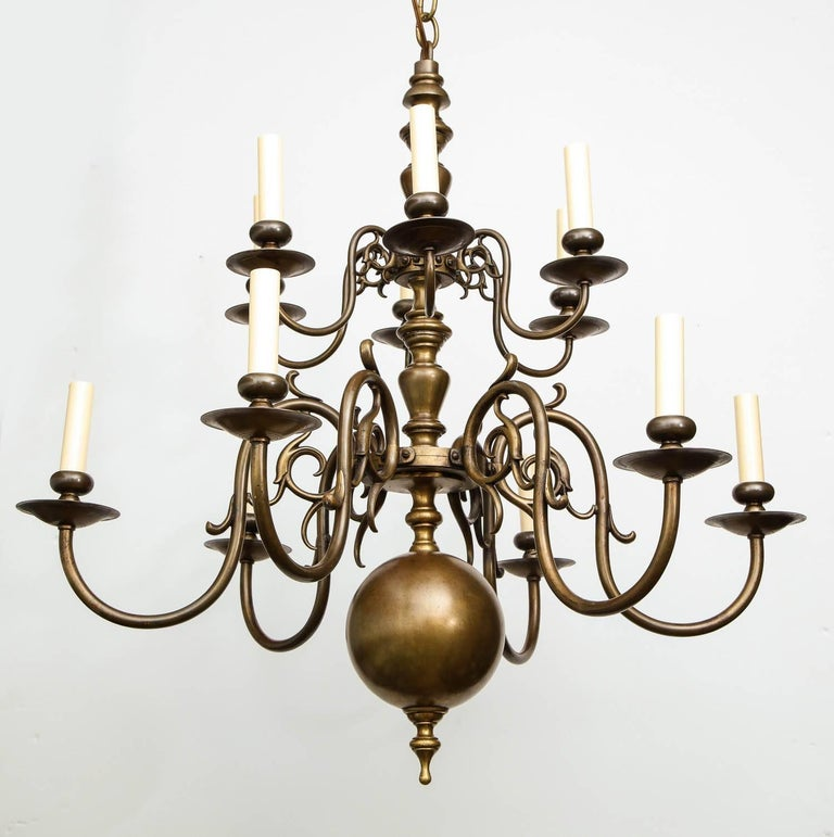 Brass Twelve-Light Chandelier For Sale 3