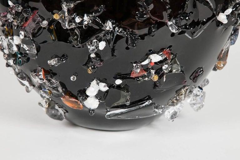 Dutch Sakura VIV, a unique glass vase in black with mixed colours by Maarten Vrolijk For Sale