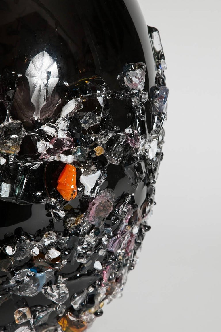 Contemporary Sakura VIV, a unique glass vase in black with mixed colours by Maarten Vrolijk For Sale